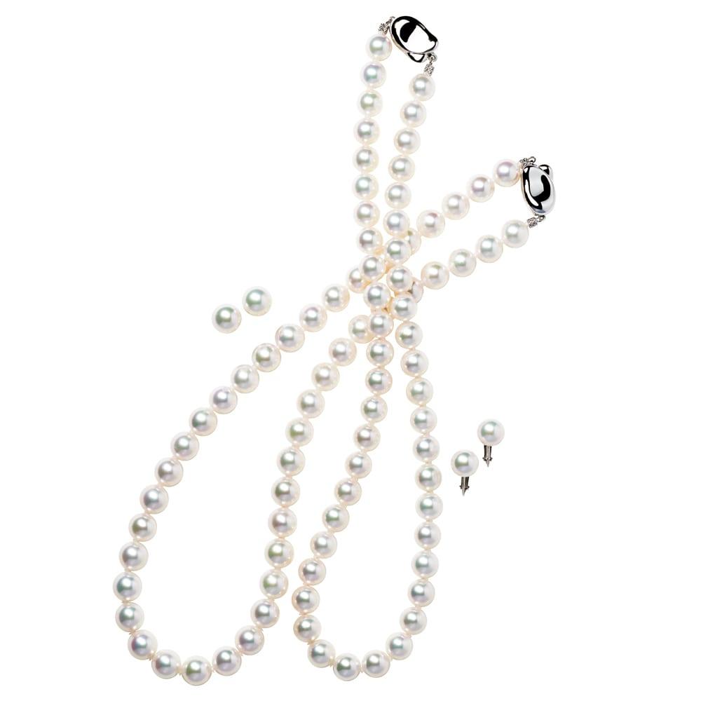 花珠アコヤ真珠 ネックレス&イヤリング・ピアスセット 左から 9mm・(イ)ピアスセット 8.5mm・(ア)イヤリングセット