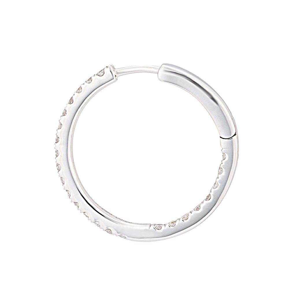 K18 0.5ctフルダイヤ フープピアス (イ)WG SIDE
