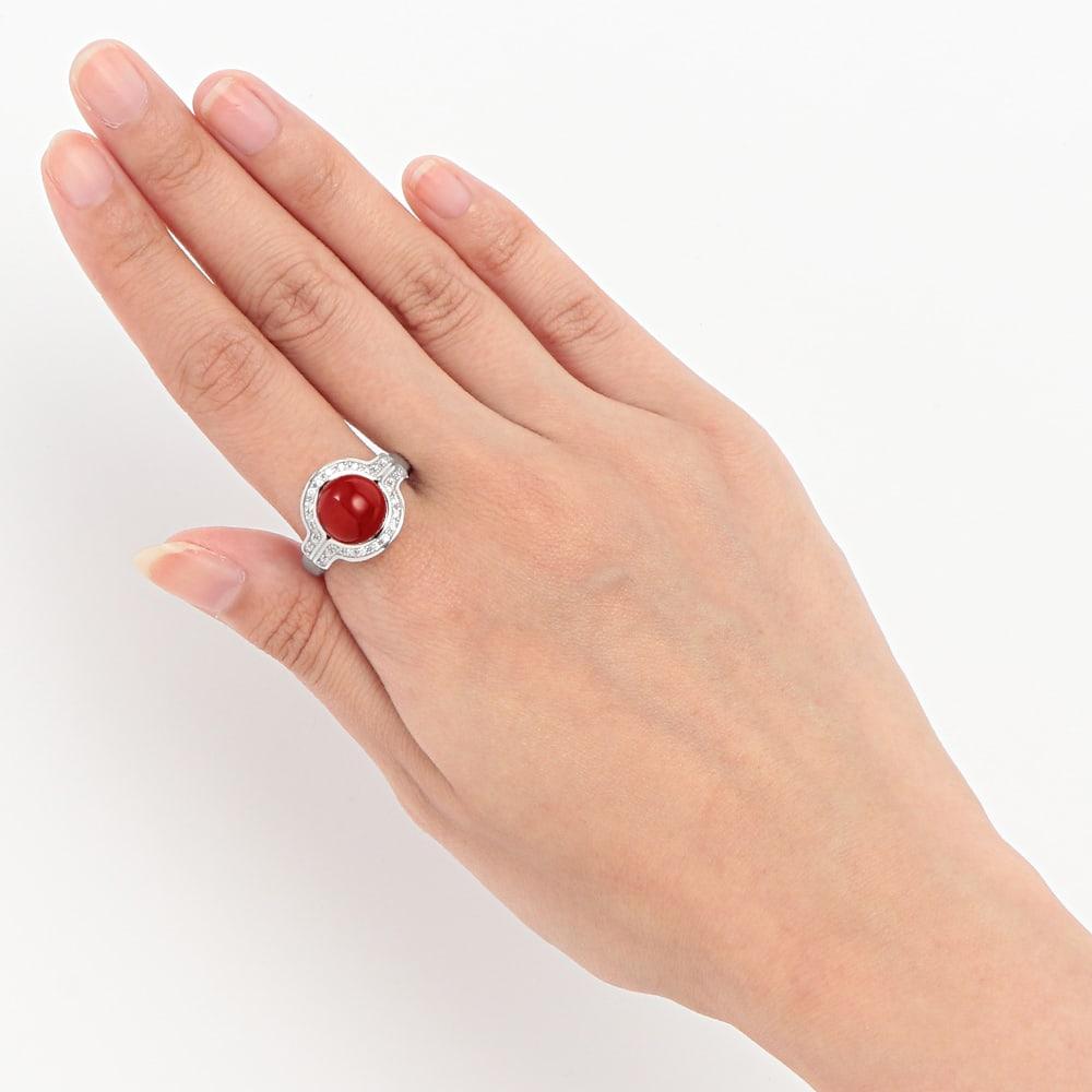 Pt 9mm血赤珊瑚 ダイヤ リング 着用例
