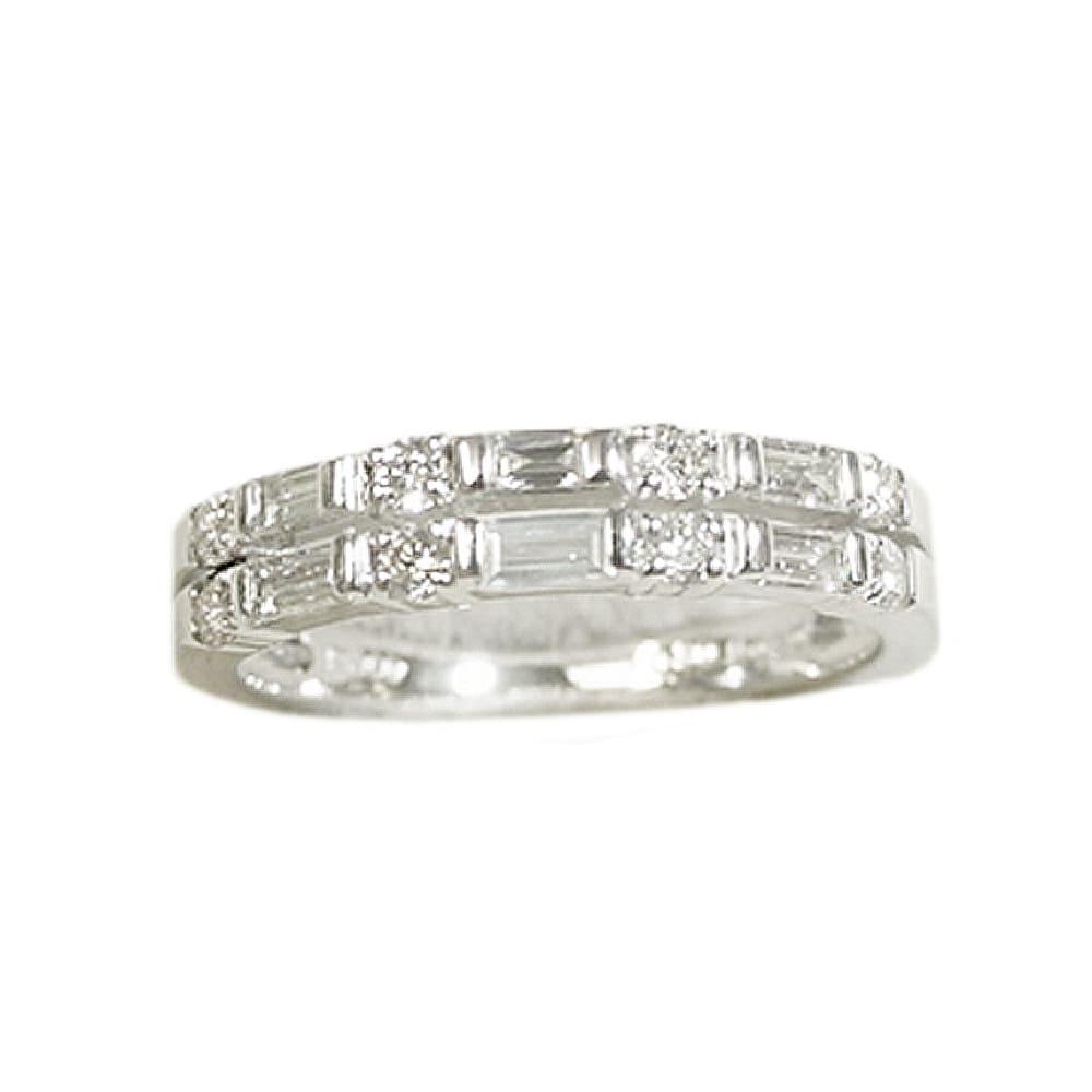 K18 0.5ctバゲットダイヤ デザインリング (イ)WG