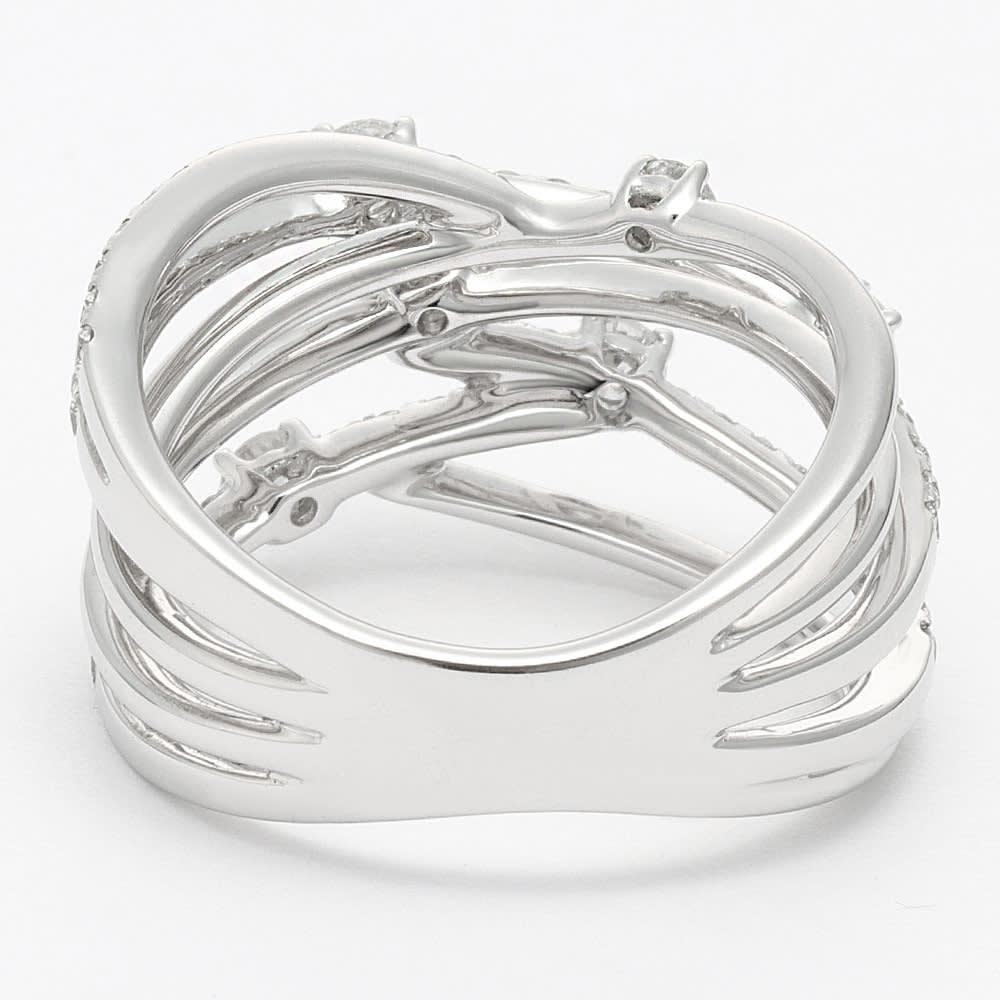 K18WG 0.8ct ダイヤデザイン リング INSIDE