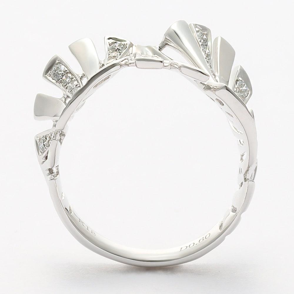 K18 0.6ct ダイヤ デザイン リング (ア)WG