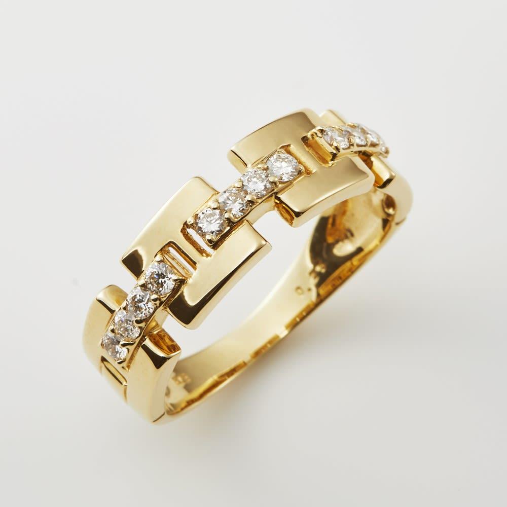 K18/Pt 0.25ct ダイヤ デザイン リング (ア)YG