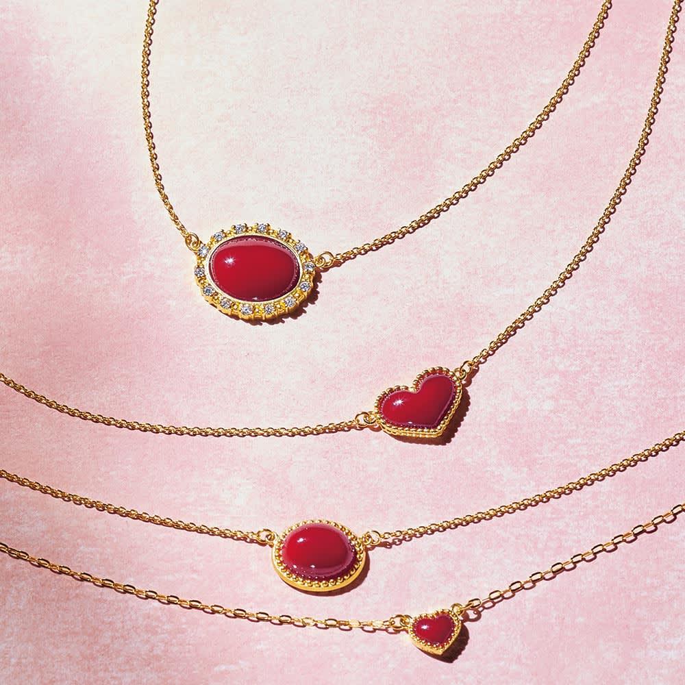 YUKIKO OKURA/ユキコ・オオクラ K18 血赤珊瑚 ダイヤペンダント コーディネート例
