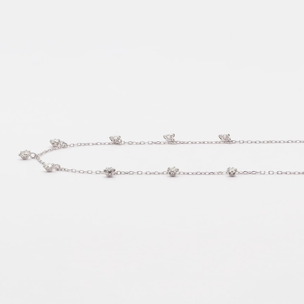 K18 0.5ct ダイヤフリンジネックレス (イ)WG
