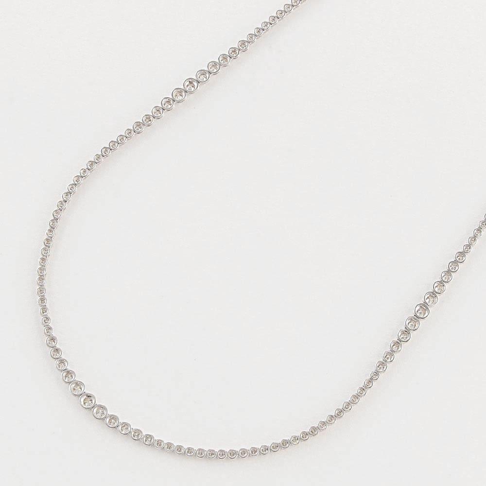 K18WG 10ct フルダイヤ ロングネックレス BACK