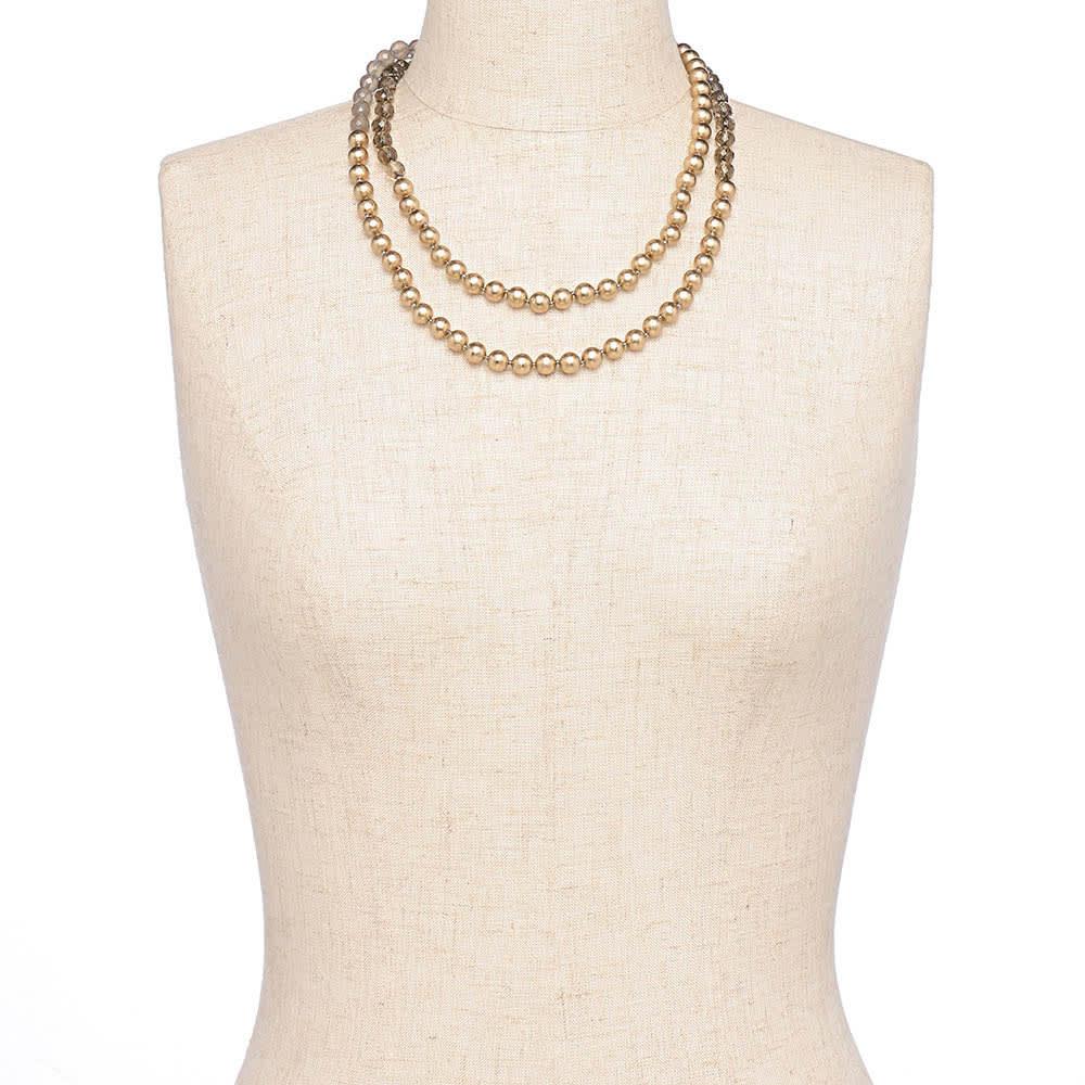 HAKUZA/箔座 箔珠 ロングネックレス(久遠色) 着用例