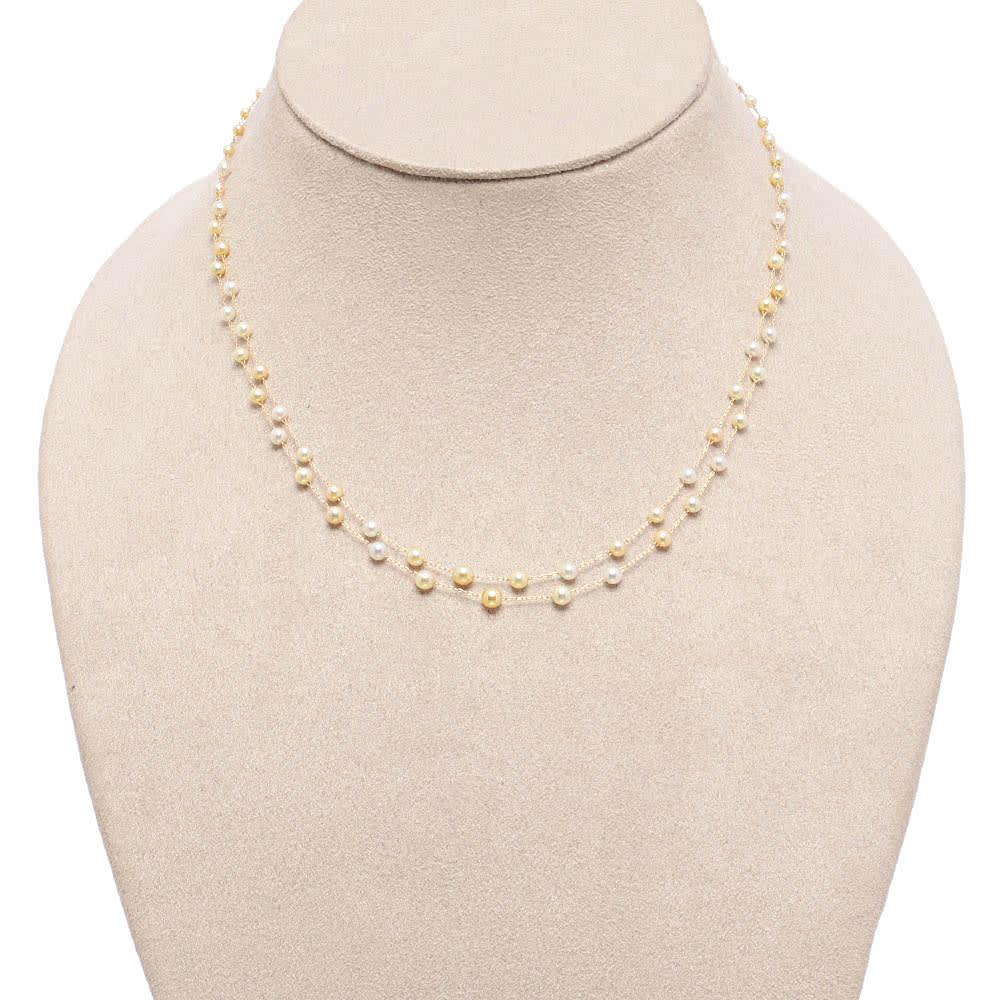 K14 アコヤベビーパール 2連 ネックレス 着用例