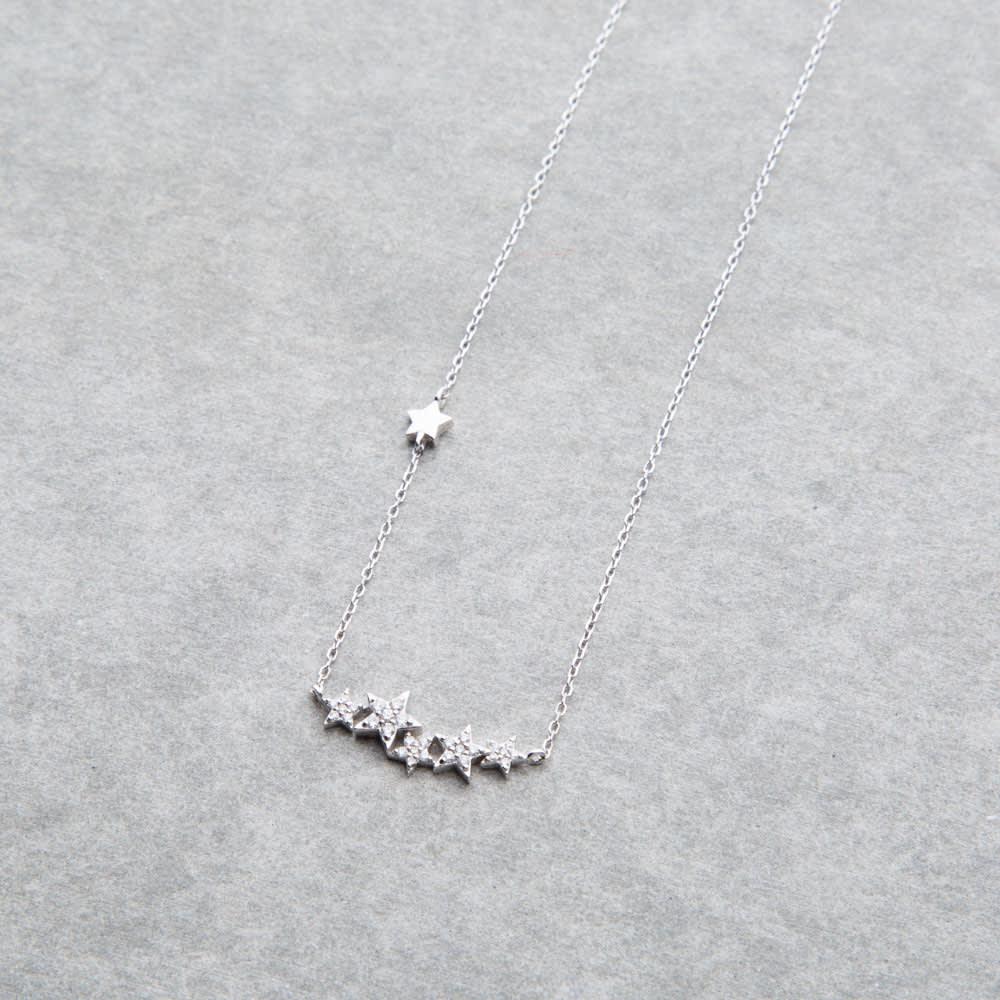 K18 0.18ctダイヤ 星モチーフ ペンダント (ア)WG