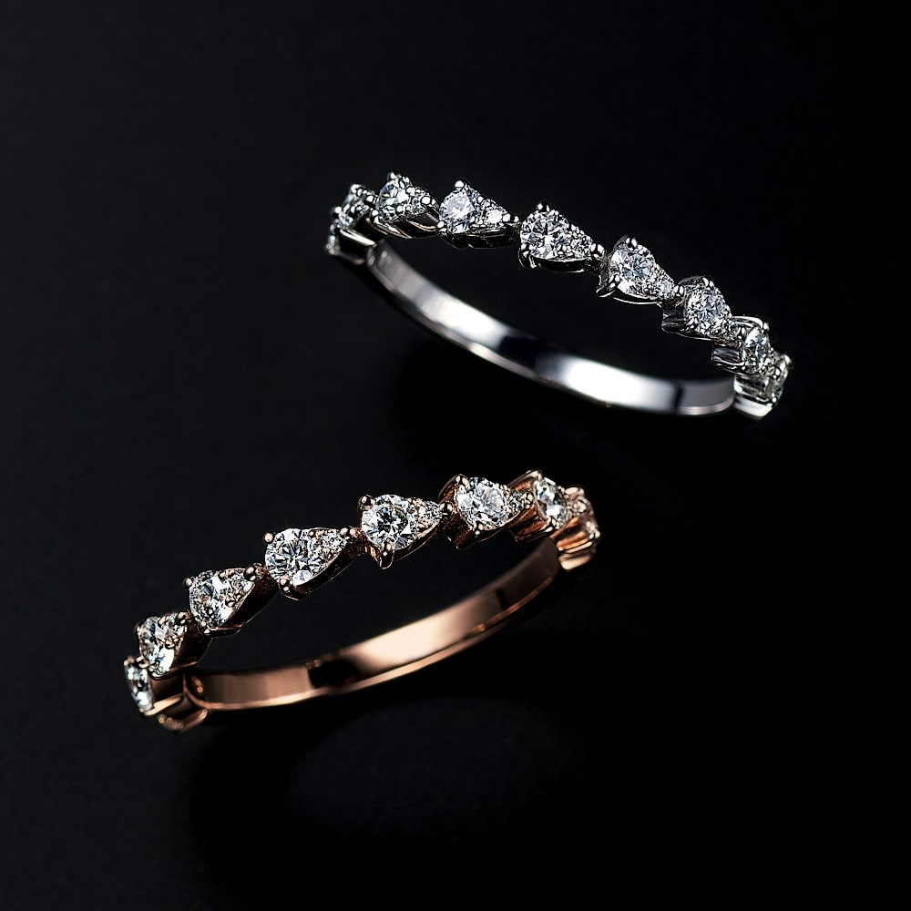 【0.33ct】 K18 ダイヤ 雫 エタニティリング レディース WG/PG 8~18 ダイヤモンド