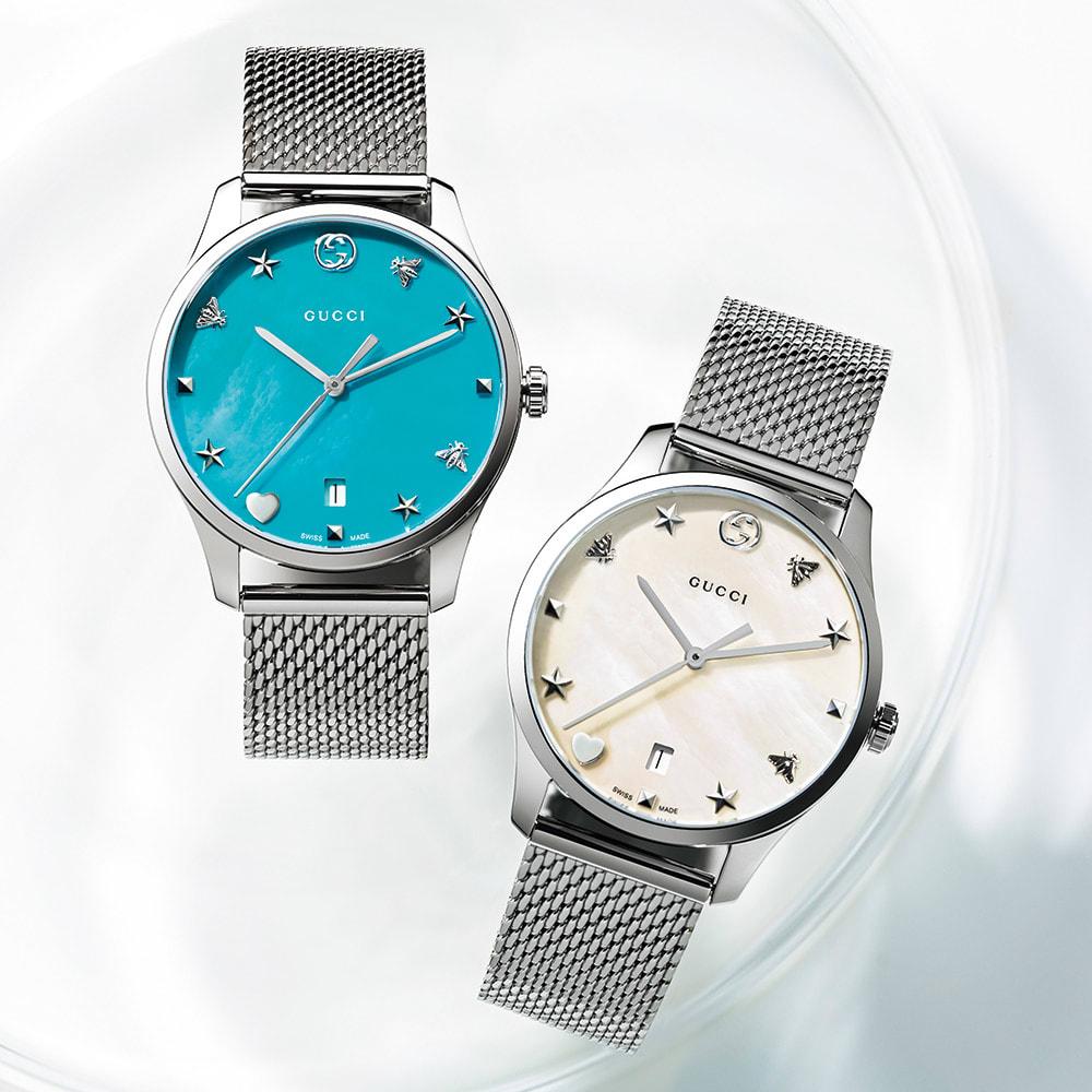 GUCCI/グッチ Gタイムレス  レディース ブルー/ホワイト レディース腕時計
