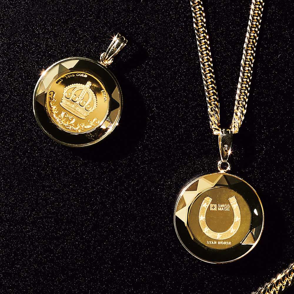 スイスパンプ社 純金 1/25オンスコイン ペンダントヘッド 左から(イ)王冠 (ア)ホースシュー ※ペンダントヘッドのみ販売となります。