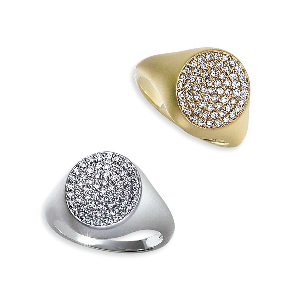 K18 0.3ct ダイヤ デザイン ピンキーリング 左から (イ)WG (ア)YG