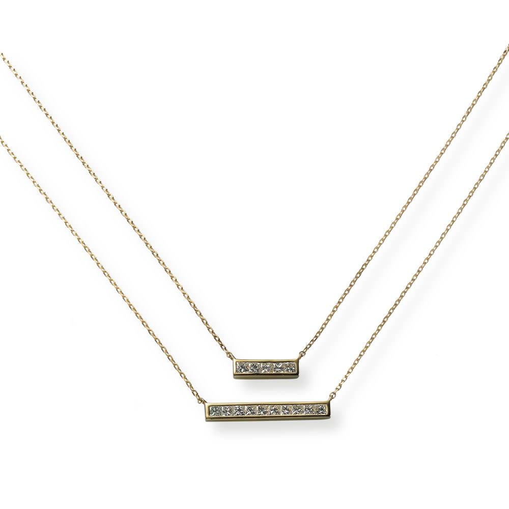 K18 プリンセスカットダイヤ ペンダント 上から 0.11ct、0.23ctタイプ