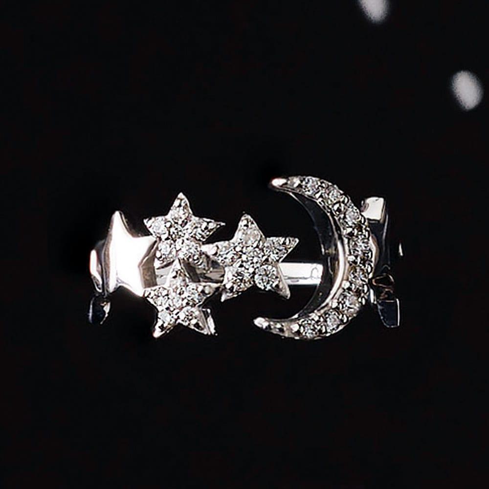 K18WG 0.15ctダイヤ 三日月モチーフ ピンキーリング レディース 4~8 ダイヤモンド