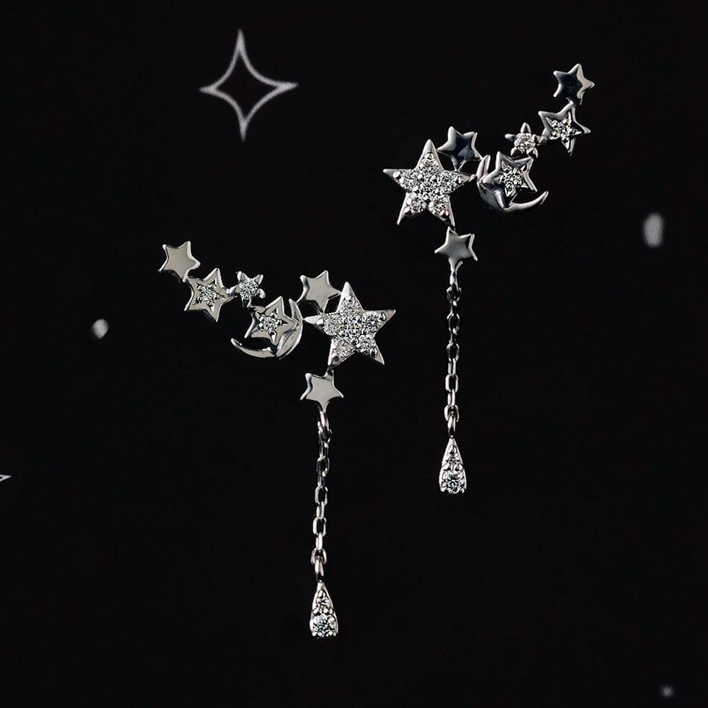 K18 0.2ctダイヤ 星モチーフ ピアス (ア)WG