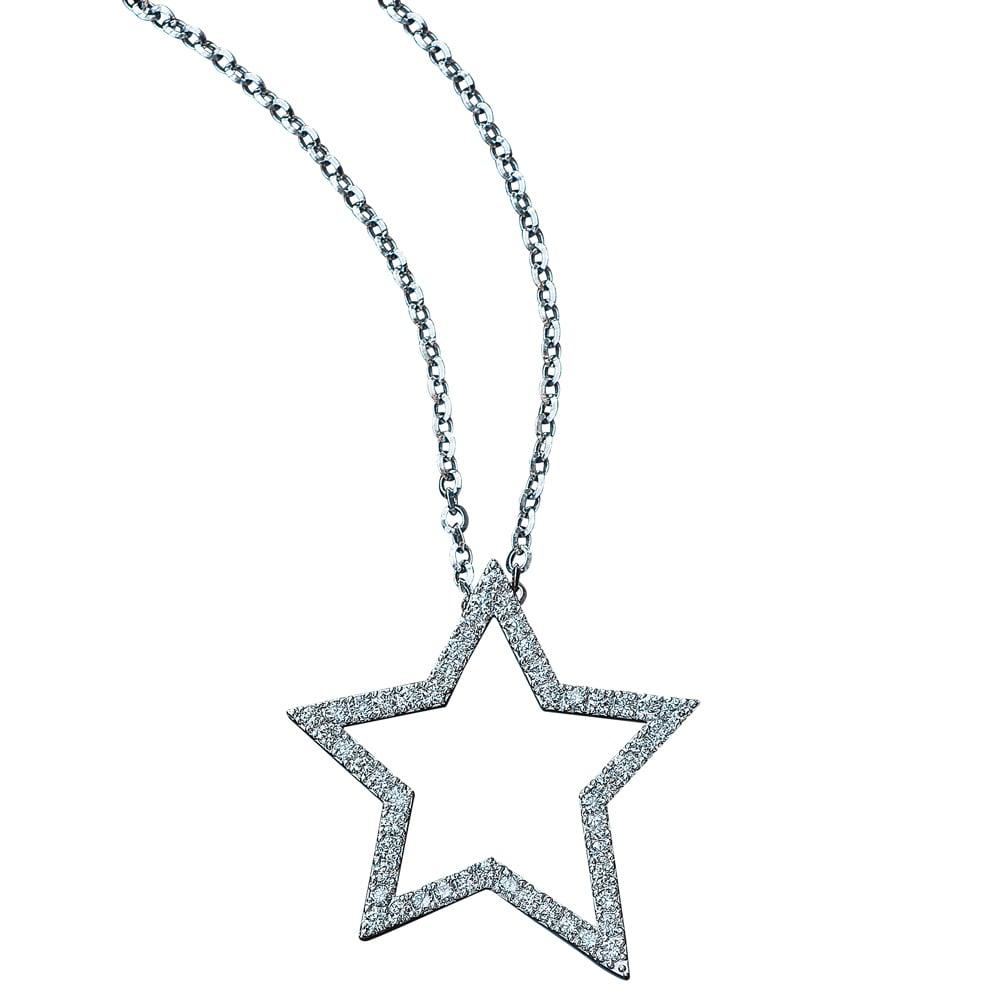 K18WG 1.0ct ダイヤ スター ペンダント レディース ダイヤモンド