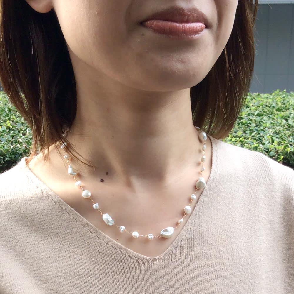 YUKIKO OKURA/ユキコ・オオクラ K18 淡水パール ネックレス 着用例