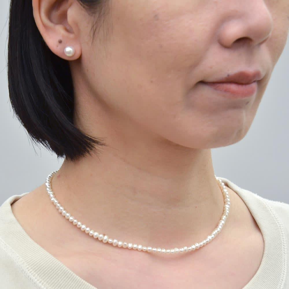 YUKIKO OKURA/ユキコ・オオクラ SV 淡水パール ネックレスセット 着用例
