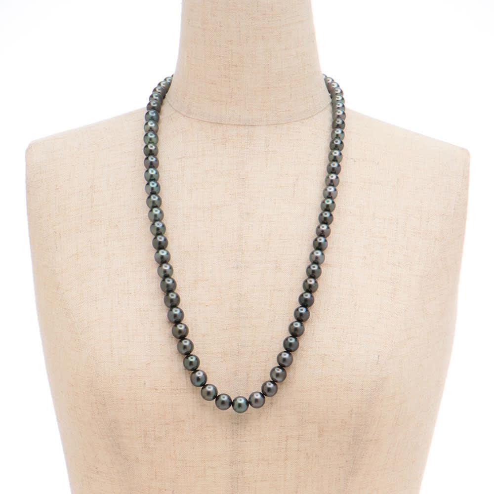 エリタージュ 黒蝶パール コンバーチブル ネックレス 着用例(ネックレス約70cmのみ)