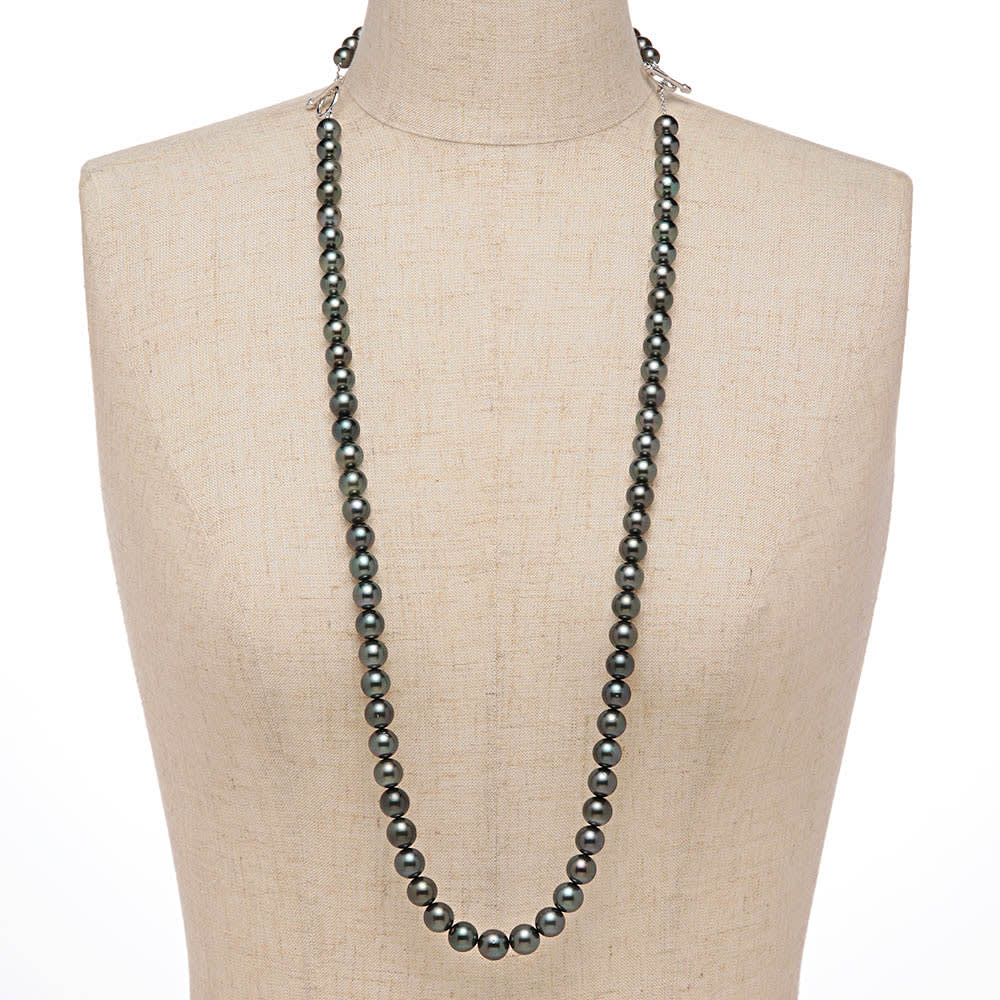 エリタージュ 黒蝶パール コンバーチブル ネックレス 着用例(ネックレス約70cm+ブレスレット約19cm)