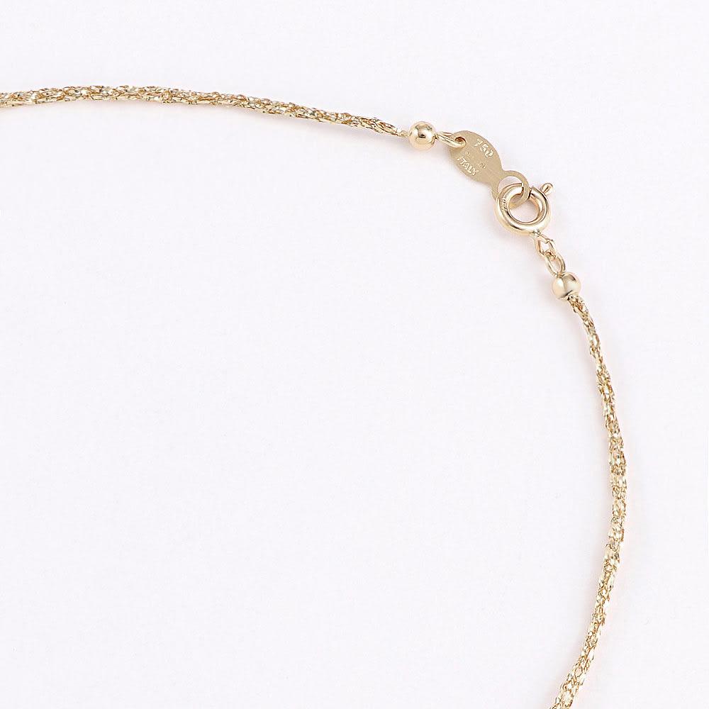 UNOAERRE/ウノアエレコラボ K18 メッシュ ロングネックレス 【70cm】 引き輪式