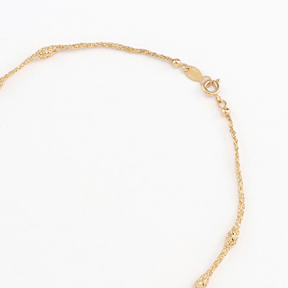 UNOAERRE/ウノアエレコラボ K18 メッシュ ロングネックレス 【42cm】 引き輪式