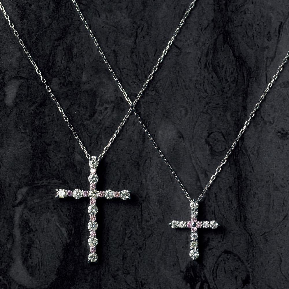 K18WG 0.36ctピンクダイヤ クロス ペンダント K18WG ピンクダイヤ クロス シリーズ (左:計0.85ctダイヤ、右:計0.36ctダイヤ)