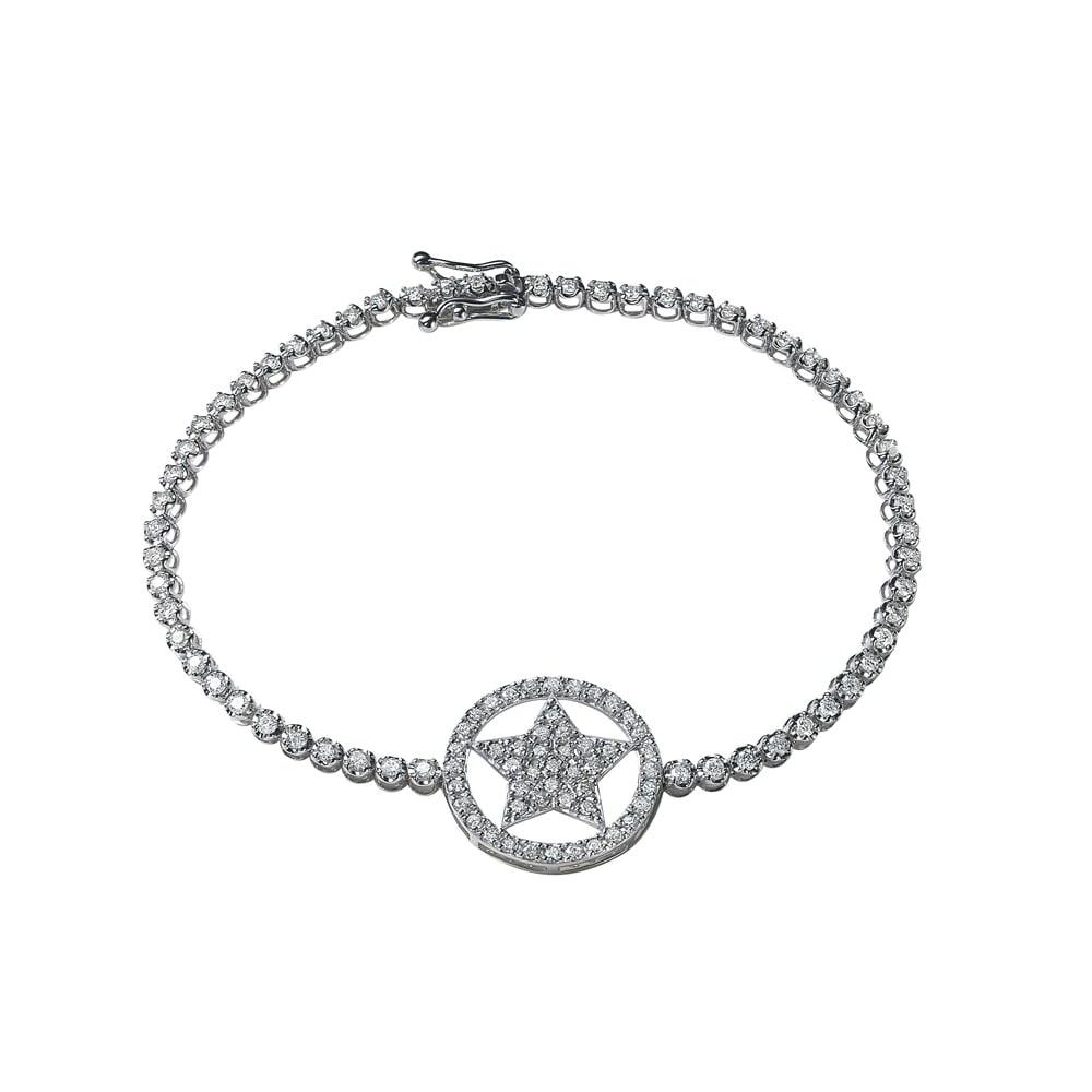 K18WG 1.5ctダイヤ 星 ブレスレット レディース 16~18 ブレスレット・バングル