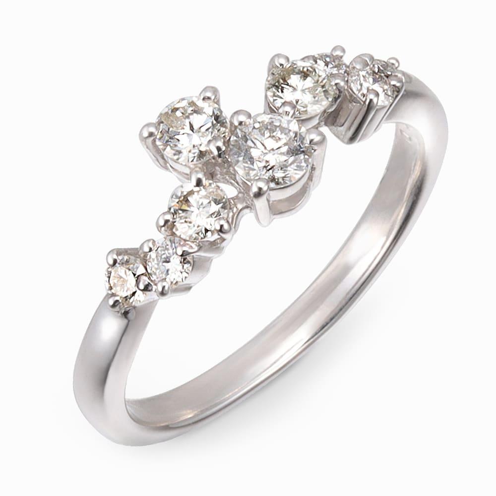 Pt 0.5ctダイヤ 星屑 リング レディース 9~16 リング・指輪
