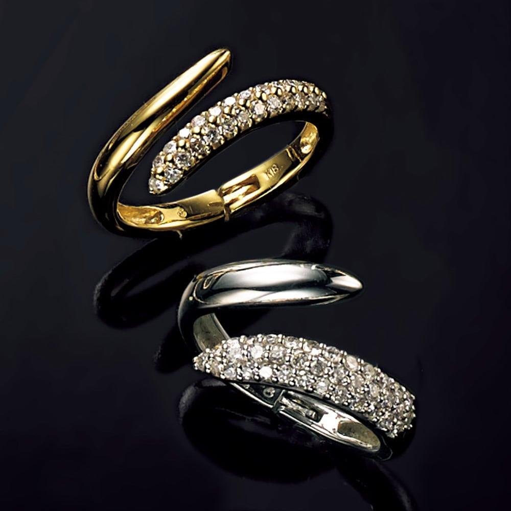 K18 ダイヤ フィットリング 上から 【0.3ct】(ア)YG、 【0.5ct】(イ)WG