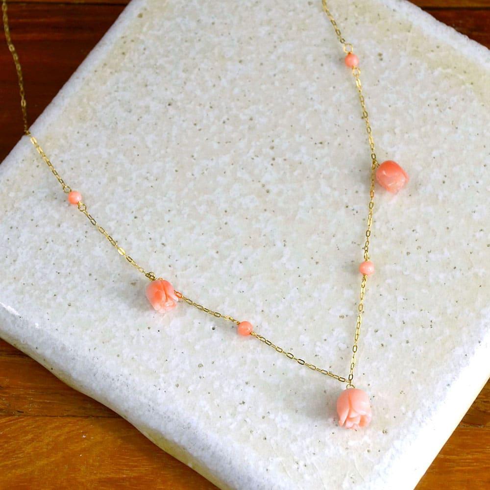 YUKIKO OKURA/ユキコ・オオクラ K18 深海珊瑚 薔薇 ネックレス レディース ネックレス・ペンダント