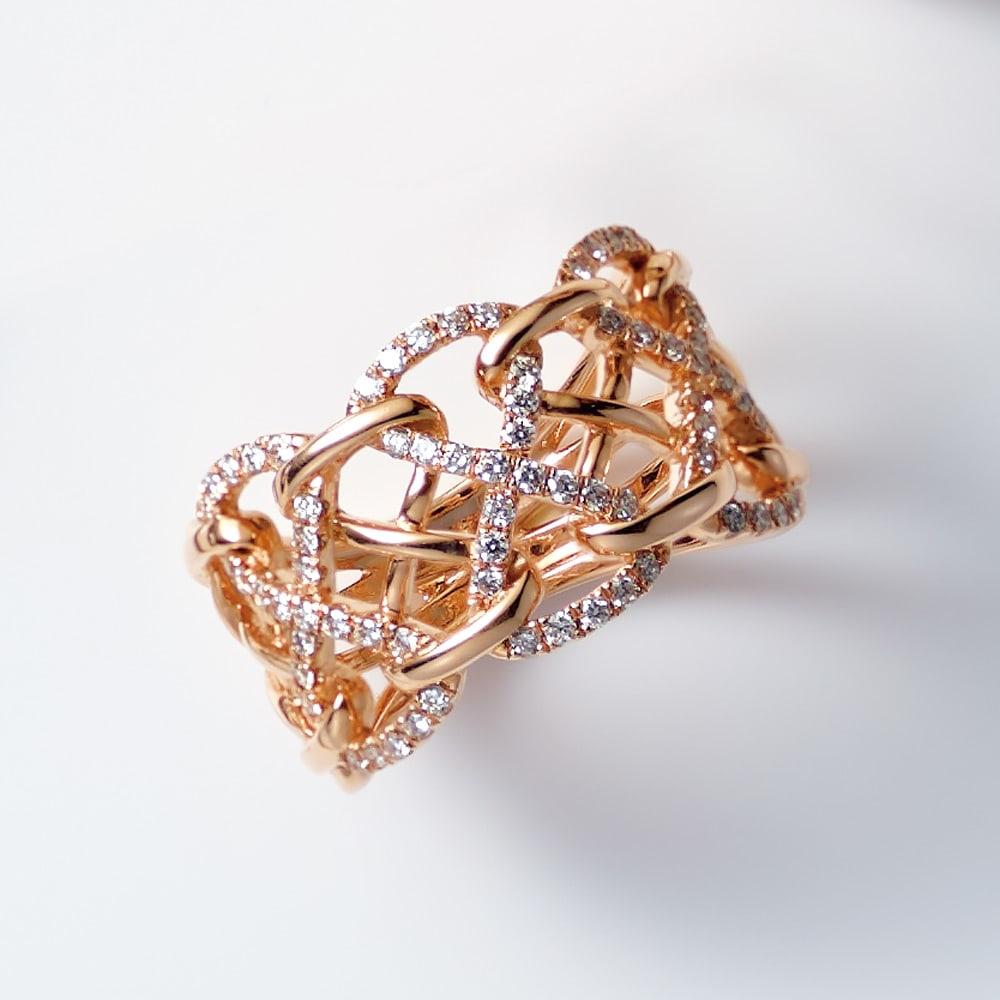 K18 0.4ctダイヤ デザイン リング レディース PG 8~18 ダイヤモンド
