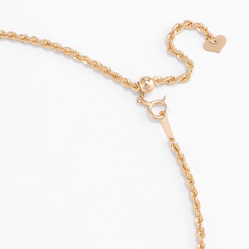 K10 ロープ ロングチェーン ネックレス (ア)YG スライドアジャスター