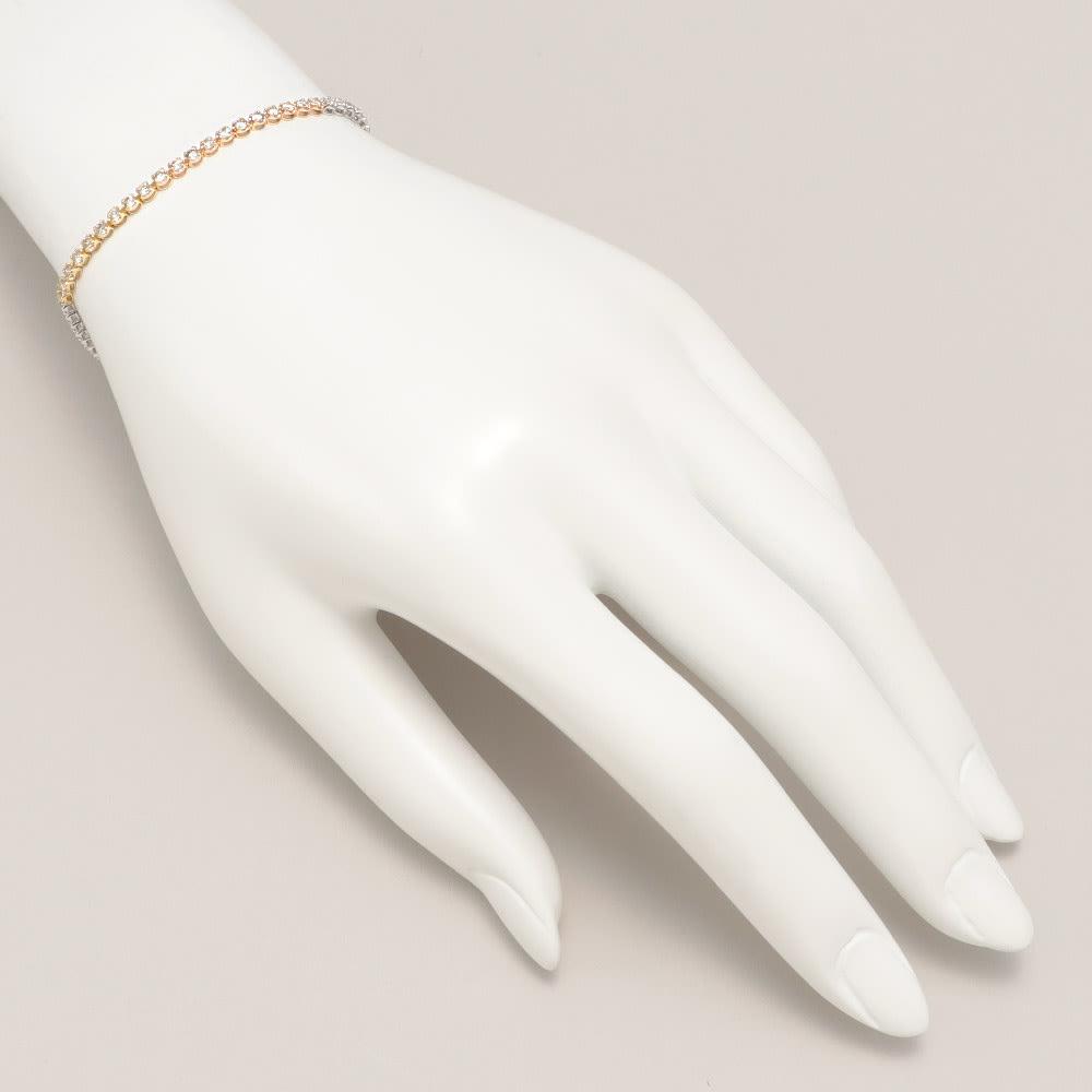 K18 スリーカラー 2ctダイヤ ブレスレット 着用例