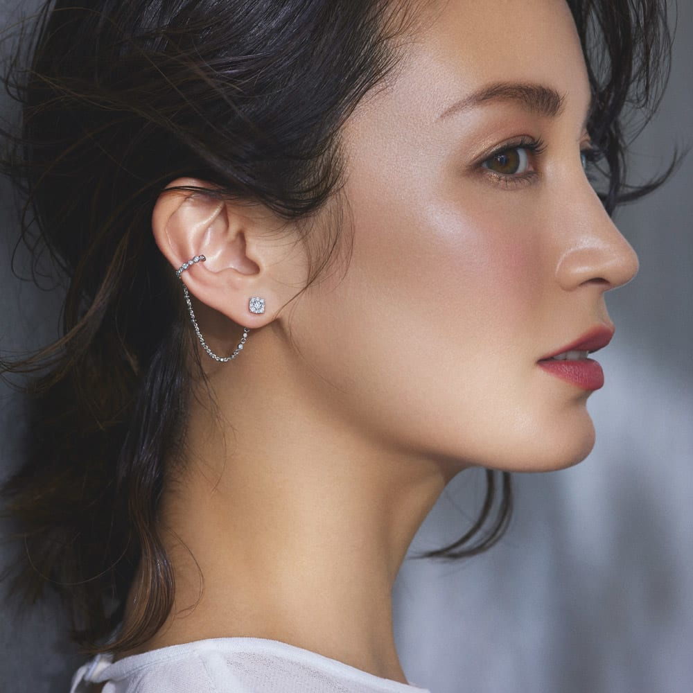 K18WG 0.5ctダイヤ チェーン イヤーカフピアス(片耳) コーディネート例(ア)右用
