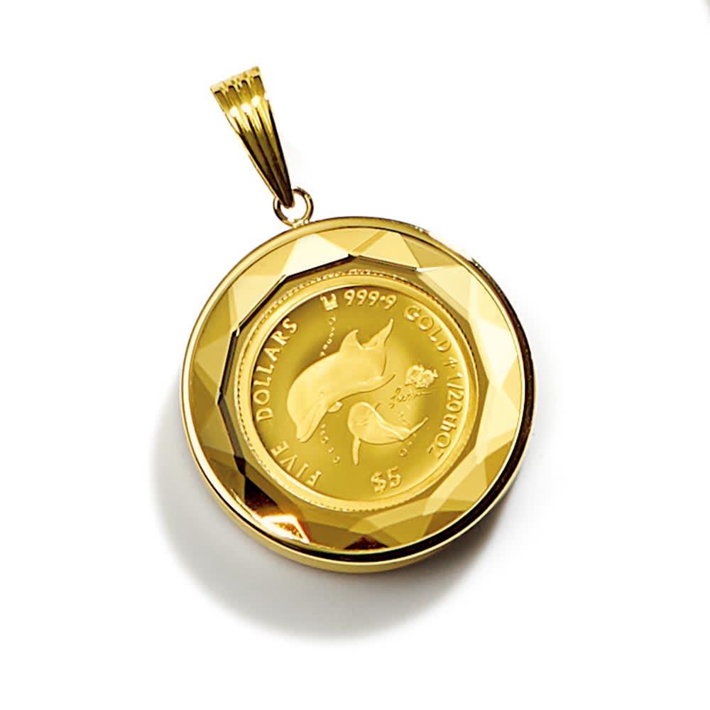 純金1/20オンス ラッセンイルカ コイン ペンダントヘッド レディース ペンダントトップ・チャーム