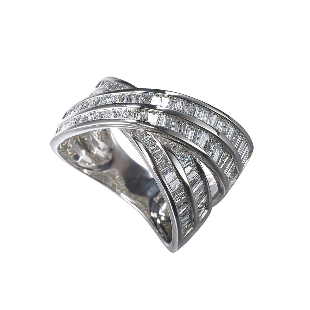 Pt 2ctバゲットダイヤ デザイン リング