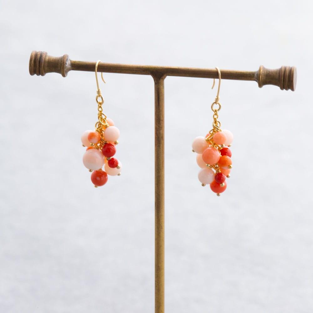 YUKIKO OKURA/ユキコ・オオクラ SV ミックス珊瑚 イヤリング・ピアス