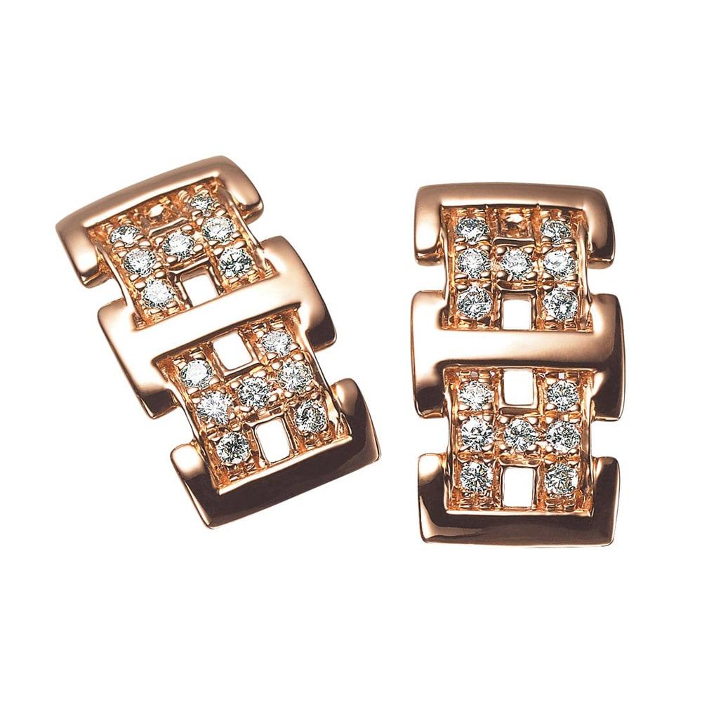 K18 0.4ct ダイヤ デザイン ピアス (ウ)PG