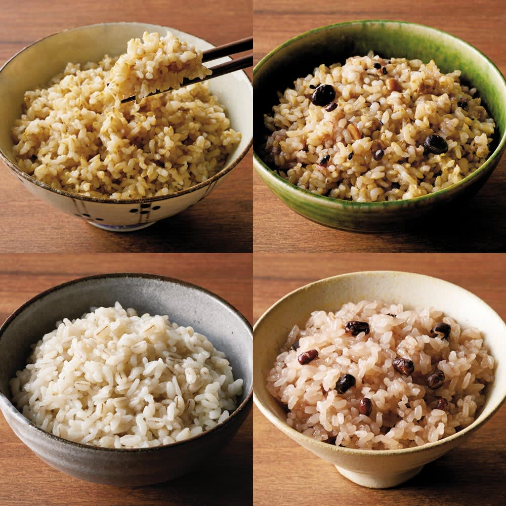 選べるレンチンごはん (計18パック) 左上から時計回りに、(ア)金のいぶき玄米、(イ)金のいぶき玄米と十五穀、(エ)赤飯、(ウ)もち麦ごはん