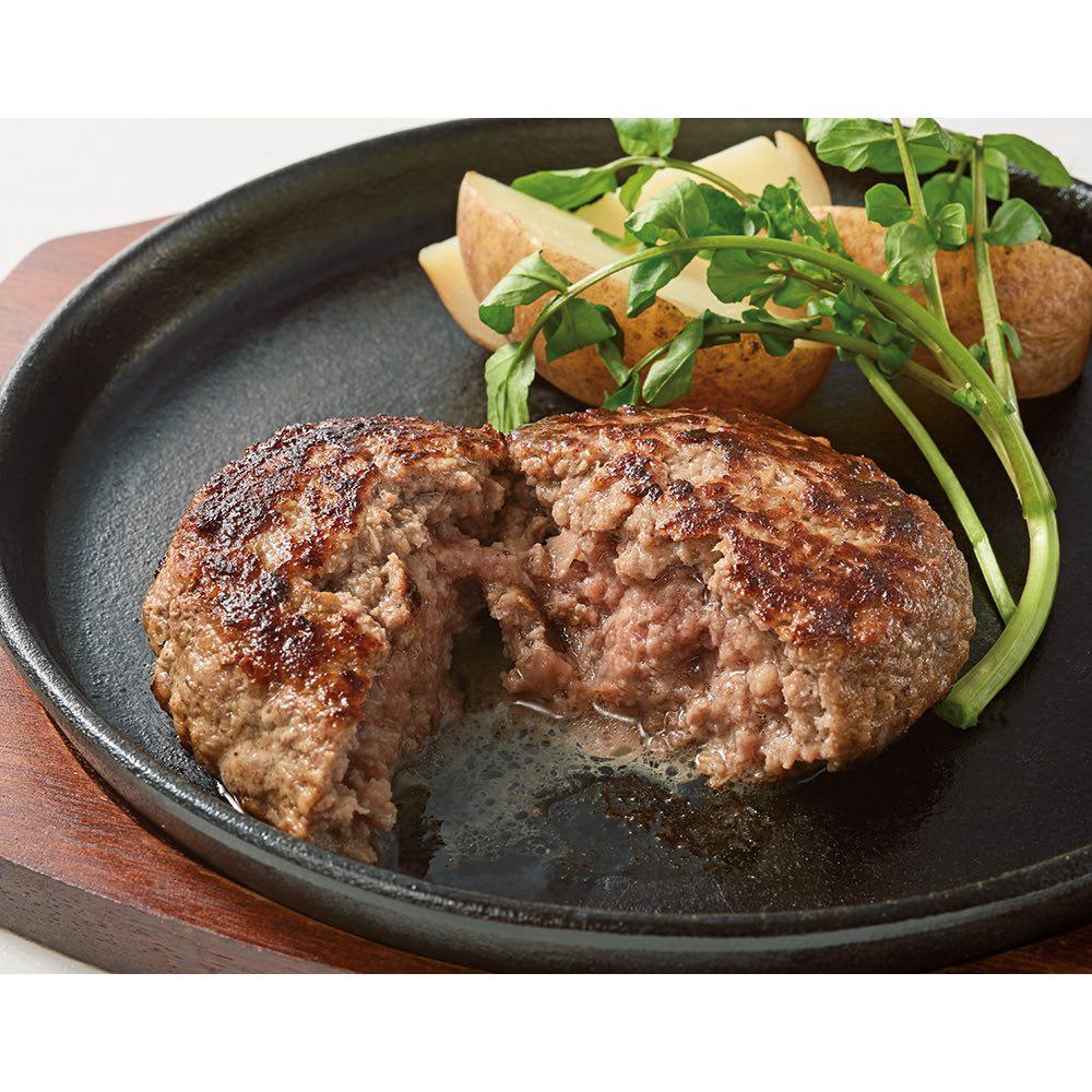 肉山特製 粗挽きハンバーグ (180g×4個) 1個180gのボリューム。蒸し焼きするのがお薦めです。 【盛り付け例】