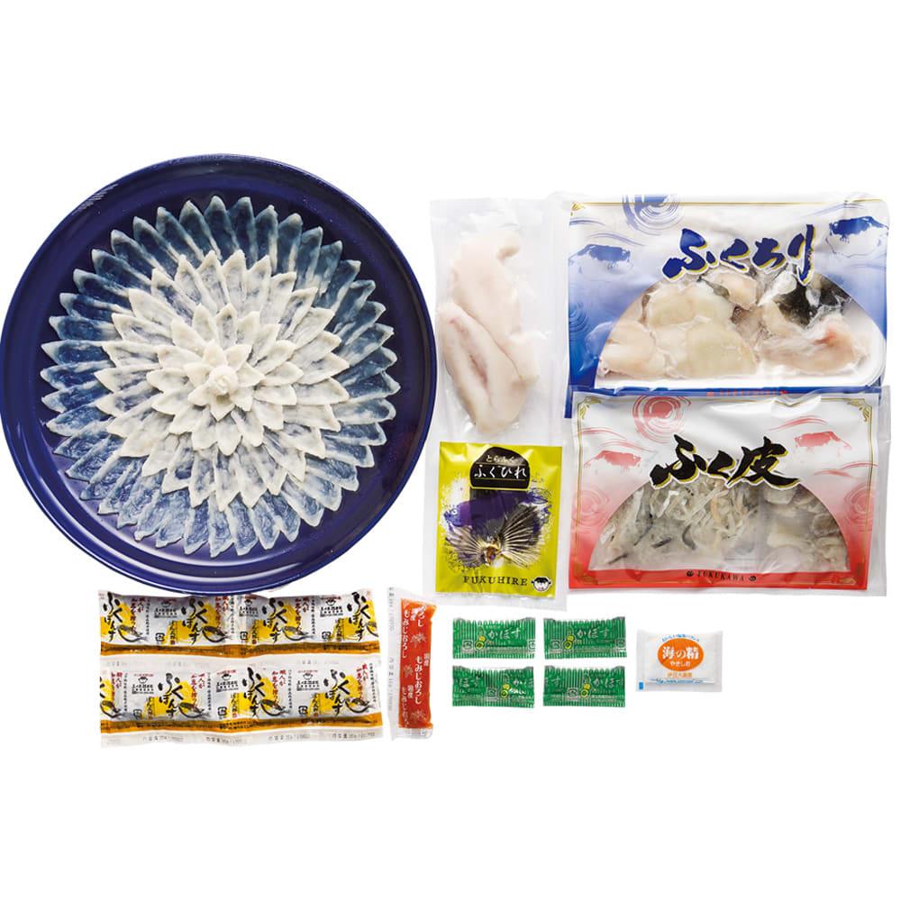「ふく太郎本部」 とらふぐセット(4人前) 【通常お届け】 白子付とらふぐセット(4人前)お届け例 ※刺身皿のデザインが変更になる場合がございます。