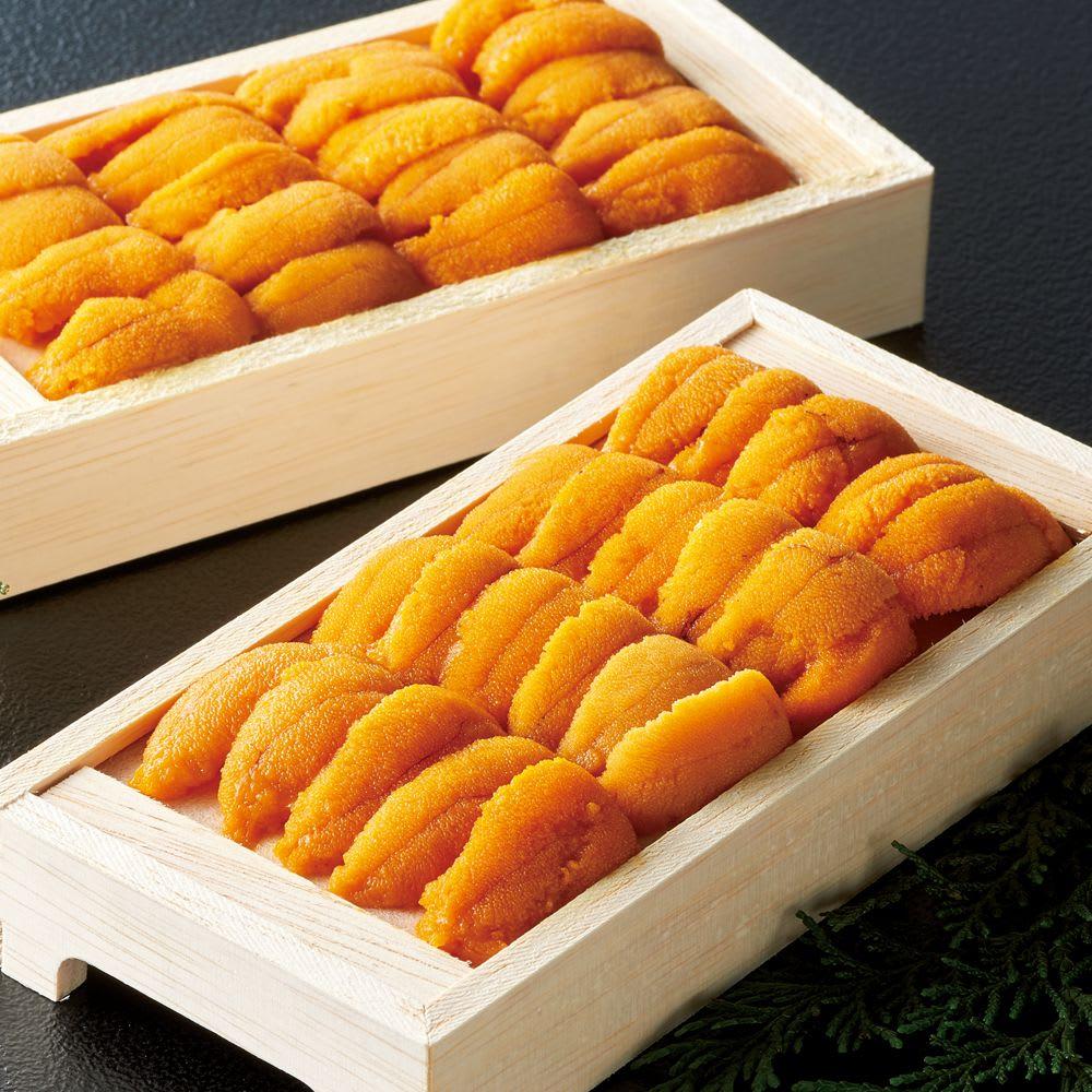 北海道産 冷凍生うに (70g×2箱) うに本来の味と香りがふわっと旬のムラサキウニの旨みは格別です。