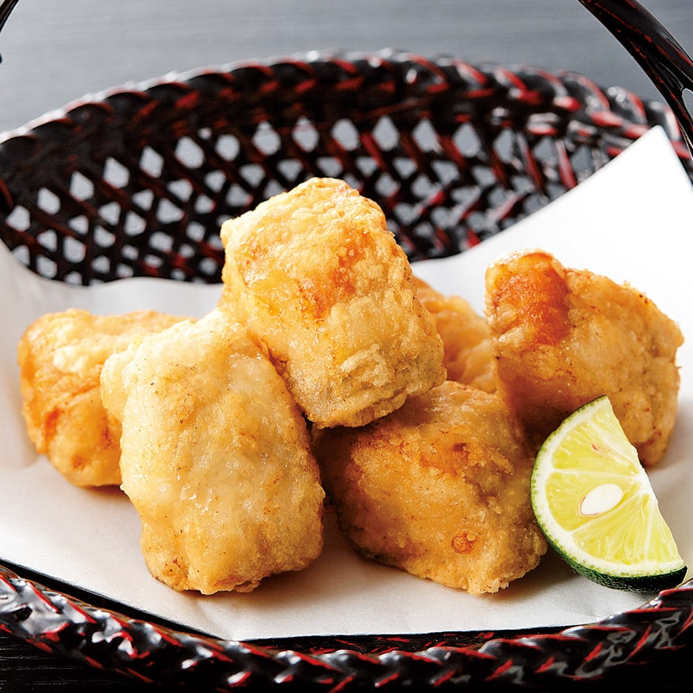 とらふぐ唐揚 (500g) 【調理例】とらふぐならではの独特のシコシコ食感があとを引きます。
