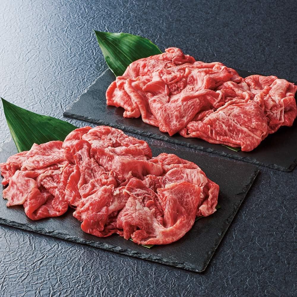 松阪牛(切り落とし) 400g 【盛り付け例】キメ細かくやわらかな肉質ととろけるような霜降りが自慢
