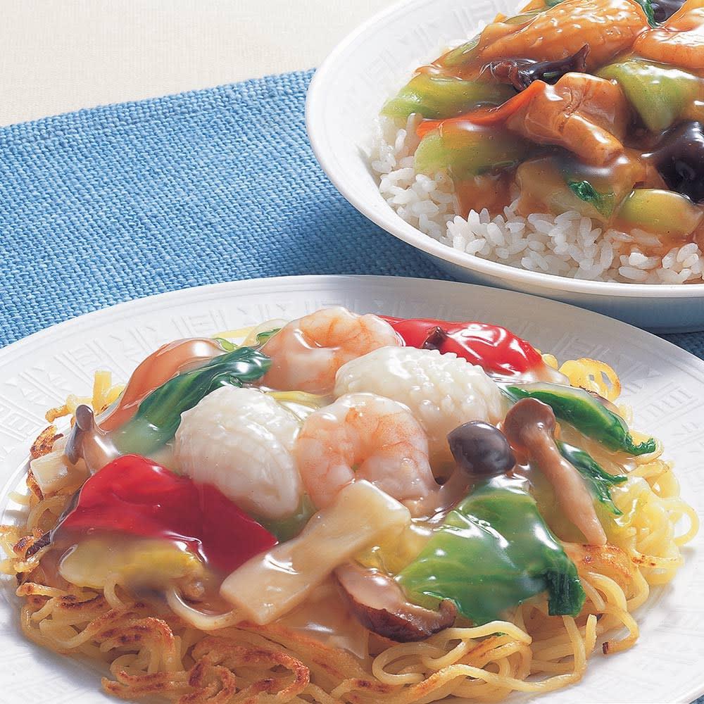 海鮮と野菜の中華丼の素 【醤油味】 (180g×10袋) 【盛り付け例】上から醤油味、塩味
