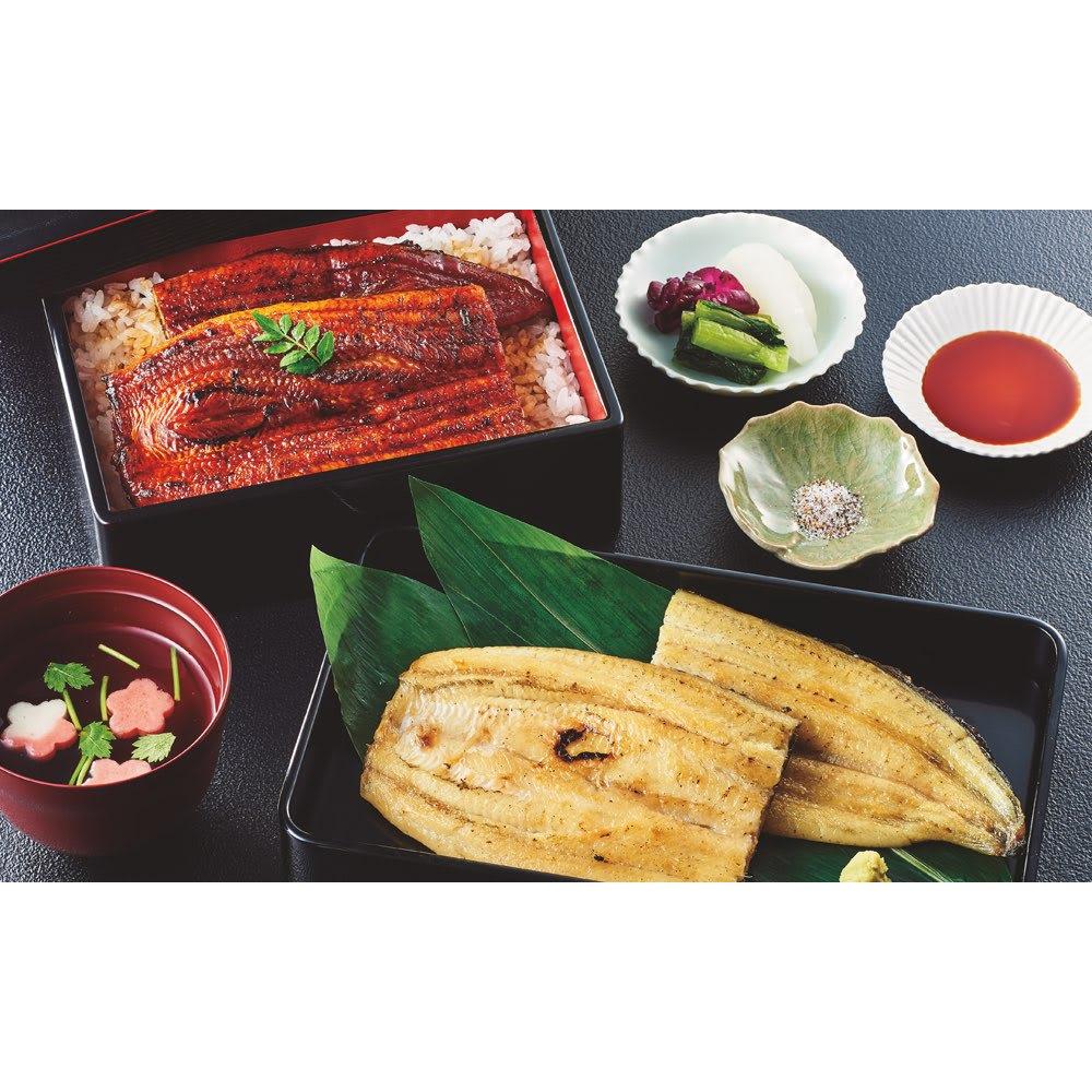 愛知・三河産 うなぎ蒲焼&白焼セット 【盛り付け例】愛知三河産のおいしいうなぎをどうぞ。蒲焼と白焼両方お楽しみいただけます。
