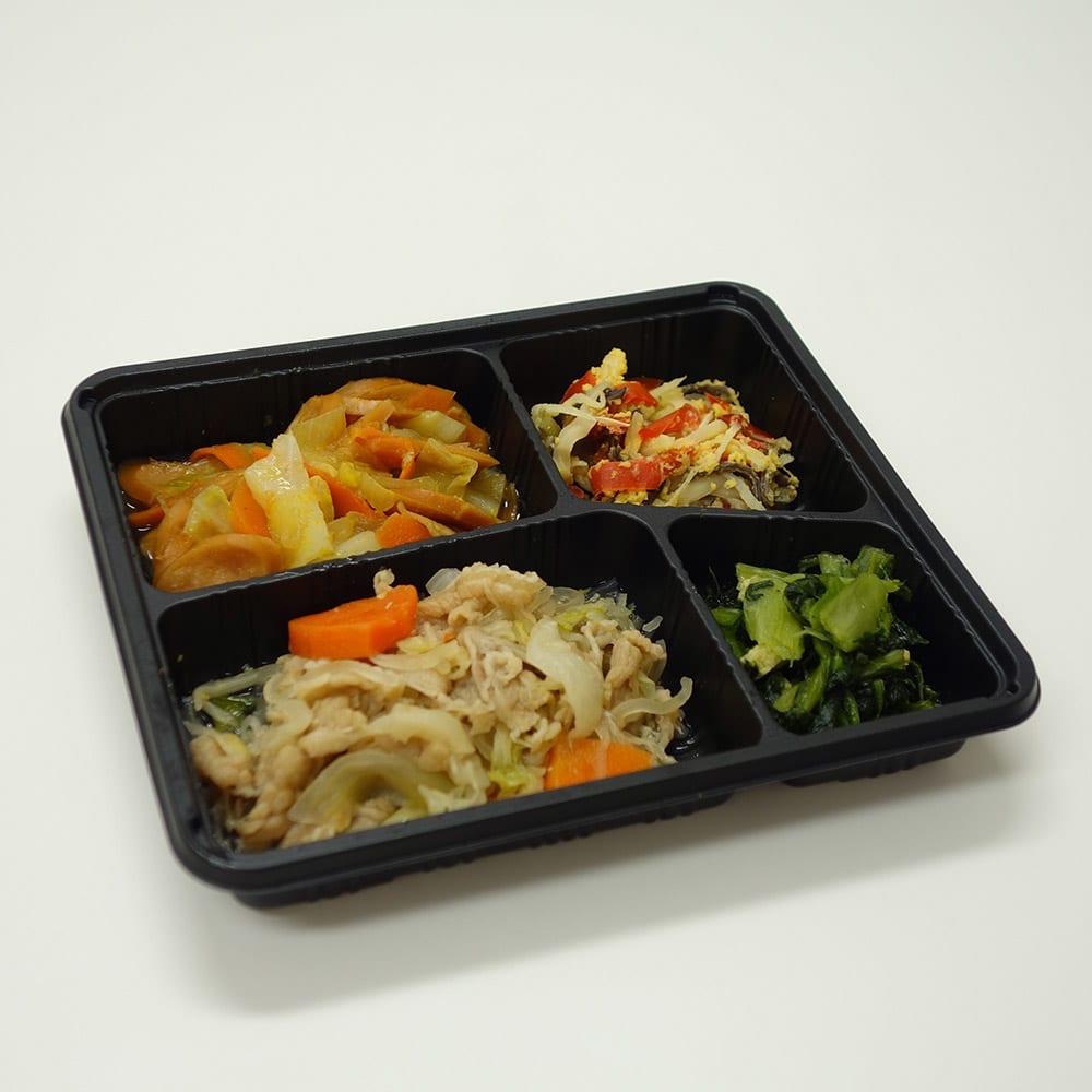 健康バランス7食セット すき焼き風煮 【副菜】筍と玉子の中華風炒め/小松菜のおひたし/豆腐の柚子あんかけ
