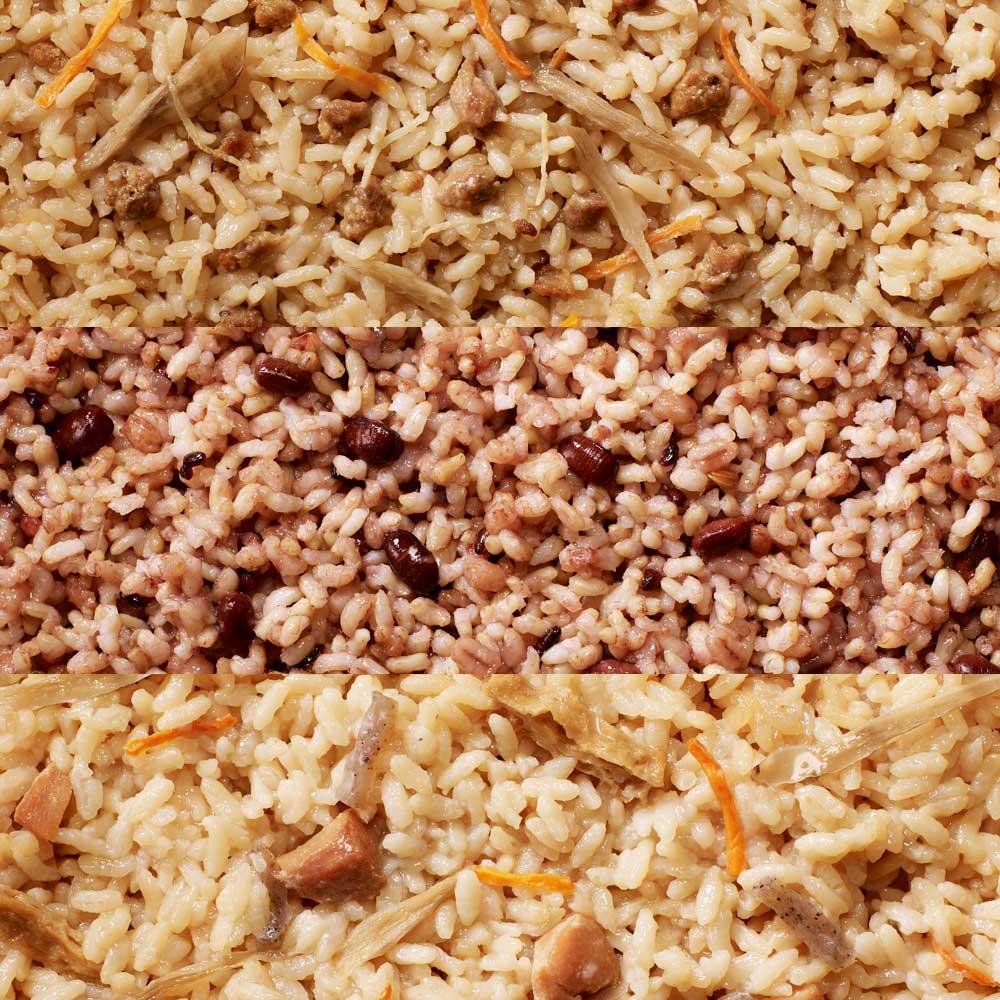 イザメシCAN 18缶セット 生姜の風味の牛そぼろごはん、小豆が入った雑穀玄米ごはん、具材いろいろ鶏五目ごはん